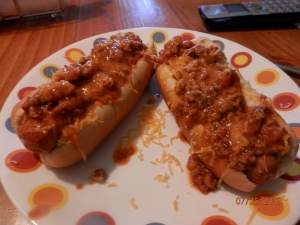 chili dogs with cheddar cheese!